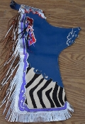 "42"" long Royal blue body with zebra print, hair-on trim (TB167)"